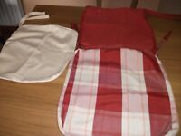 6 polyester/cotton tie-on seat covers for kitchen chairs
