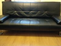 3 Seater Sofa Bed Faux Leather (black) in Hamilton