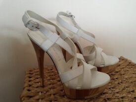 Casadei, Vero Cuoio, White Leather Strap Platform with 6 inch Stiletto Heel, US Size 8, UK Size 5.5