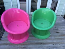 2 x ikea egg chairs with storage garden childrens room