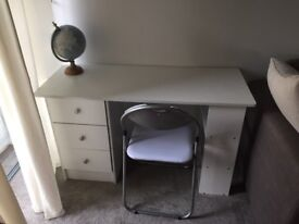White desk with 3 drawers bookshelf. With foldable chair. Great for study or make-up station