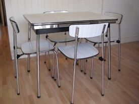 Retro Tavo Belgium 1950/60's original Extending Small Dining Table and 4 chairs
