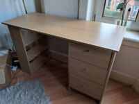 Desk with shelves, drawers and leg room