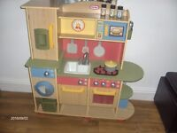 little tikes wooden kitchen 4i in x13in x39in ex con 6 monthes old