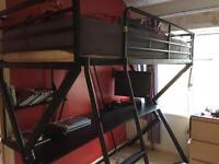 Single cabin bed like bunk bed with desk underneath