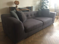 Modern Style Chesterfield 3 seat Sofa in Charcoal for sale - excellent condition £250