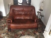 2 X 2 seater brown leather settees