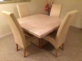 Marble dining table & 4 chairs