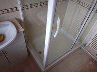 Bathroom 3 piece set - shower cubicle, vanity unit with sink, toilet