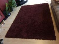 Extra Large Dark Red Deep Pile Rug 1.65x2.3m