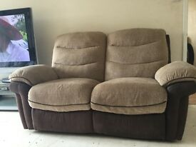 Beautifully made electric 2 seater sofa and matching 3 seater..Very well made cost £3500.00 new