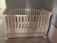 Cot bed + good quality mattress and underbed draw