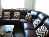 Brown Leather Six Seater Corner Sofa & Brown Leather Three Seater Sofa Matching Pair
