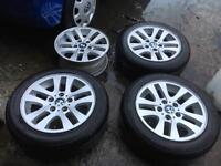set of BMW ALLOYS 3 with tyres 1 without all part worn in good condition 205/55/R16