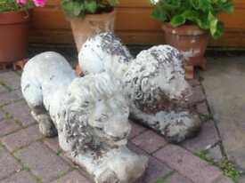 Stone Lions. Garden ornaments