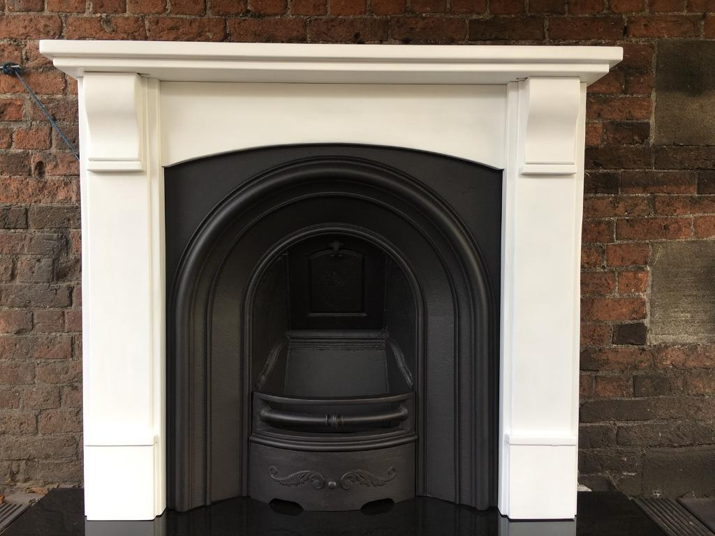 36D DEL £25 max most uk cast iron arch fireplace and solid oak surround