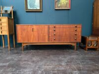 Teak Sideboard with 4 long drawers by Greaves & Thomas. Retro Vintage Mid Century. Danish Style