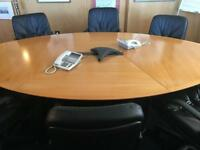 Beautiful Oval Conference / Meeting Table, 6 Leather Chairs and Cabinet