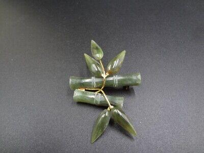 Vintage gold tone jade bamboo brooch Gold Jade Brooch
