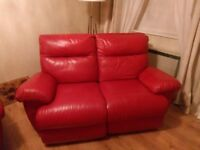 DFS red leather sofa - Reclinable - Delivery possible