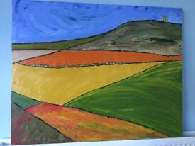 Large Modern Art Original Painting by Keith R J Browning Height 32in/81cm Width 39in/99cm