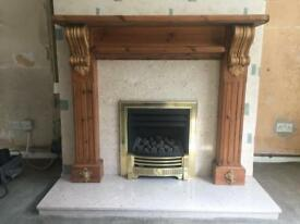 Mantlepiece (wooden), marble fire surround and hearth