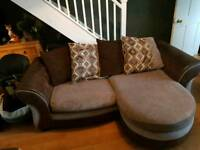 Three seater, arm chair and storage foot stool