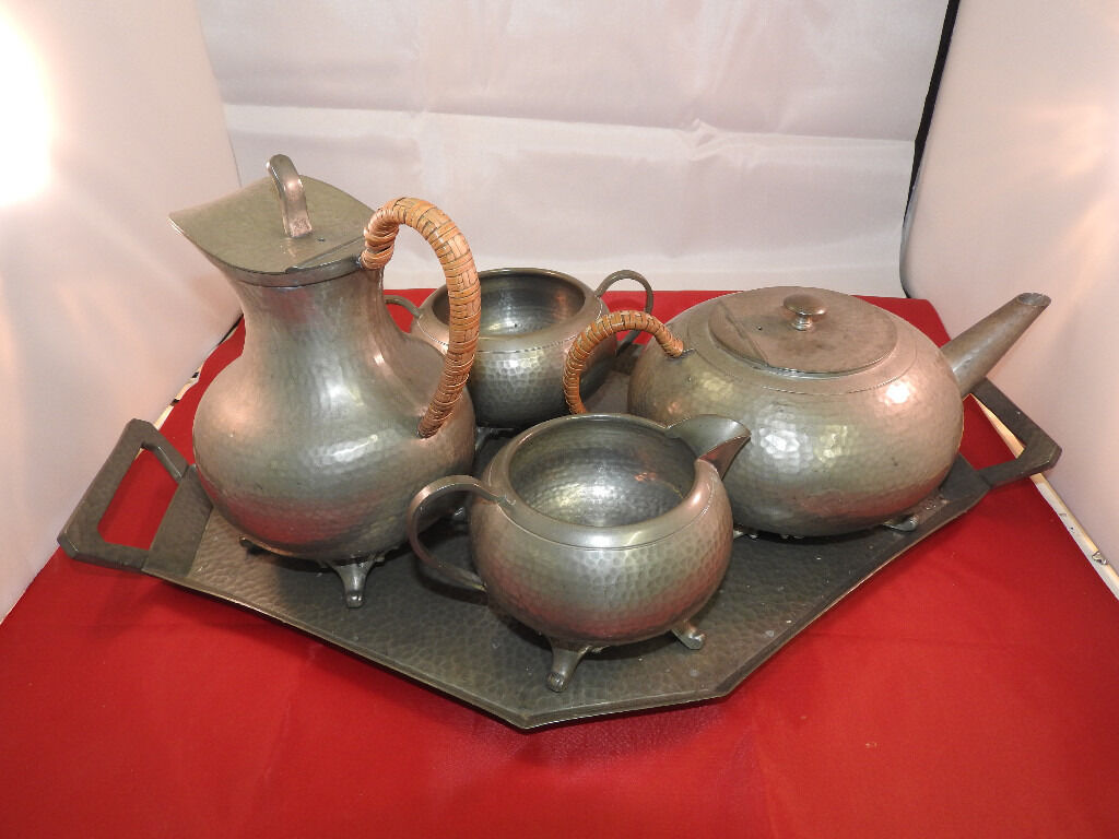 Leadless antique tea/coffee set of pewter with tray