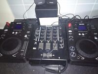 Dj decks cdj with mixer and speaker and songs