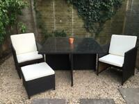 4 seat rattan cube set with footstools and cushions