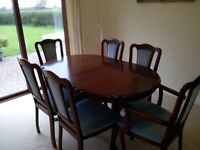 mahogany dining table with 6 chairs as new.