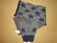 BNWT Kids boys grey navy scarf mittens set - age 10