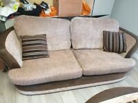 3 seater sofa, swivel chair & matching ottoman footstool