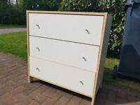 Chest of drawers used but in good condition. Colour white , 3 drawers