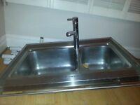 Smeg kitchen sink with towel rail and tap Damixa mercur