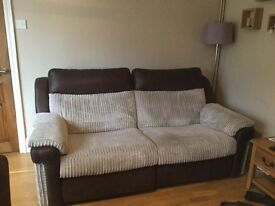 Reclining sofa & swivel chair with footstool