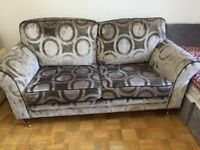 Two Seat Sofa (included wheel) in Deep Turquoise Cotton Matt Velvet-Excellent Condition