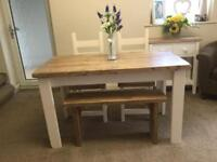 SHabby Chic, Rustic, Farmhouse Style Table, 2 Chairs and a Bench, All Hand Crafted