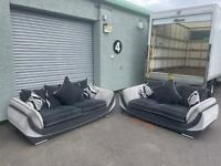 Absolutely Gorgeous grey dfs sofas 3&2 delivery 🚚 sofa suite couch furniture