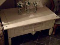 Beautiful cream solid wood shabby chic coffee table £30