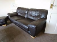 Leather Sofa, Chair and Pouffe