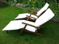 Hardwood 'Steamer' Sunloungers with cushions