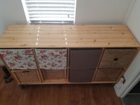 Wooden bedroom/dining room storage and 8 boxes