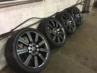 """22"""" ALLOY WHEELS TO FIT 7 STUD VEHICLE 4x GOOD TYRES"""
