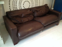 Dark brown real leather 3 seater sofa