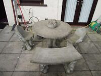 concrete garden table and chairs,
