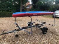 Galvanised boat trailer, suitable for 11-12ft boat plus rack for boards/kayaks/windsurfers