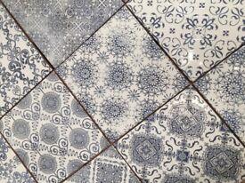 20x20cm vintage effect blue tiles lot of 5m2
