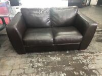 Brown leather look sofa 2 seater