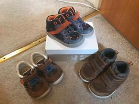 3 pairs of boys clarks shoes sizes 5 and 51/2 F